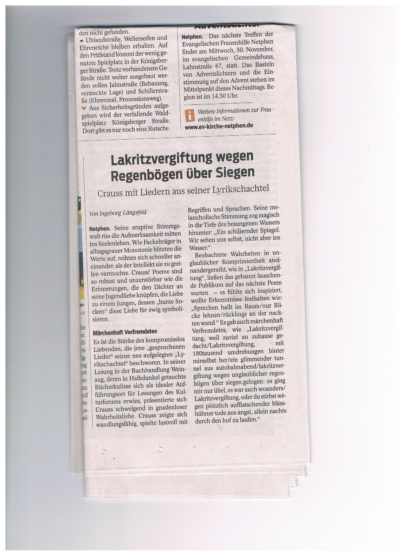 Westfälische Rundschau, 25.11.2016