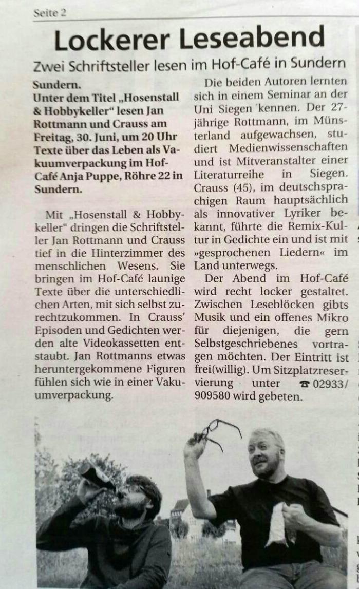 Crauss & Rottmann im sauerlandkurier