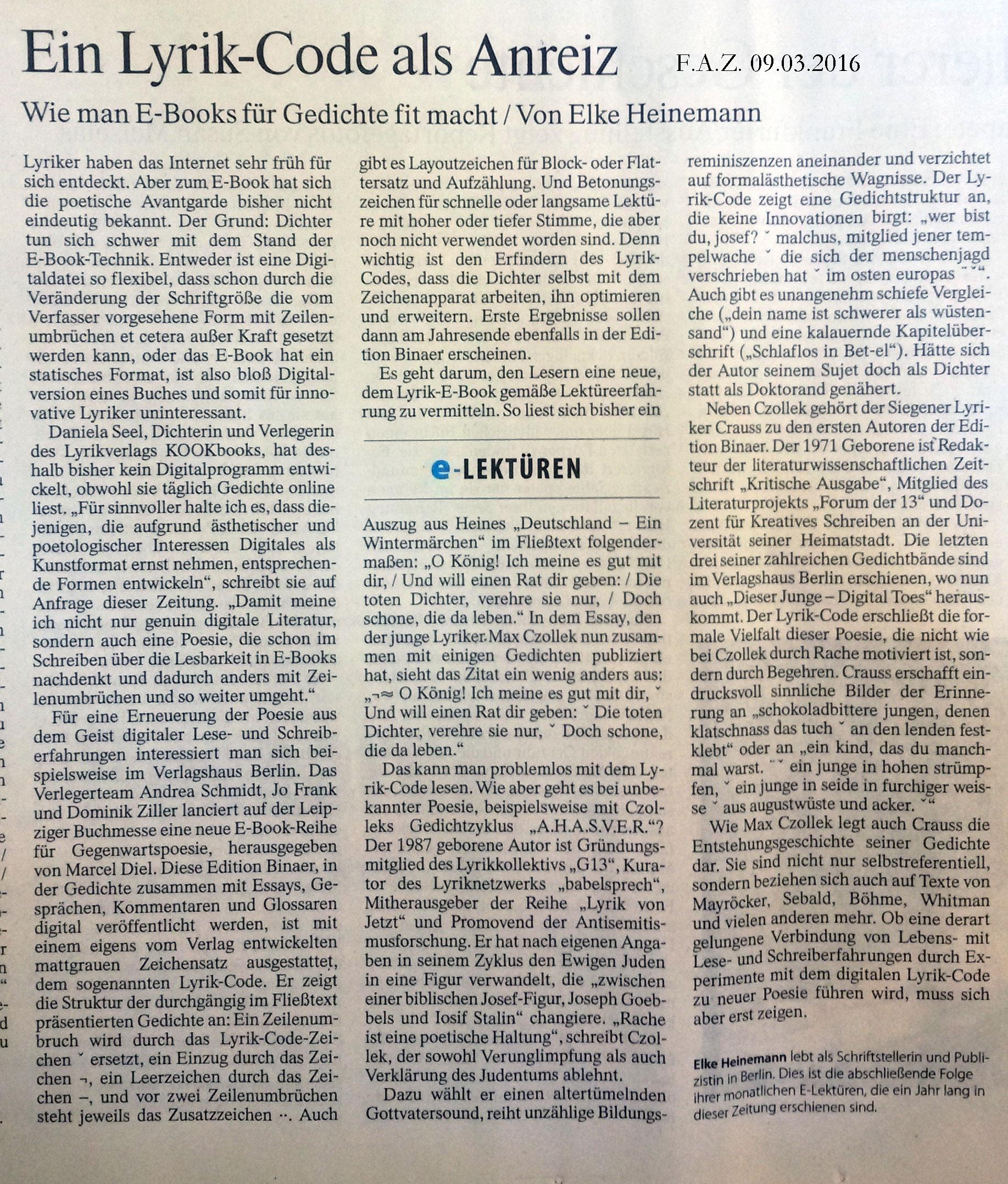 Elke Heinemann bespricht DIESER JUNGE